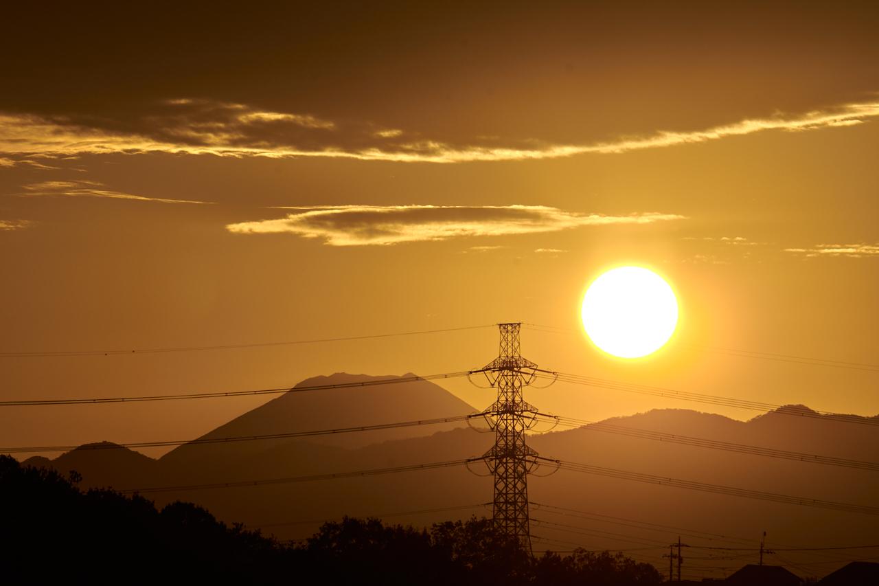 ベランダから見える夕焼け&富士山